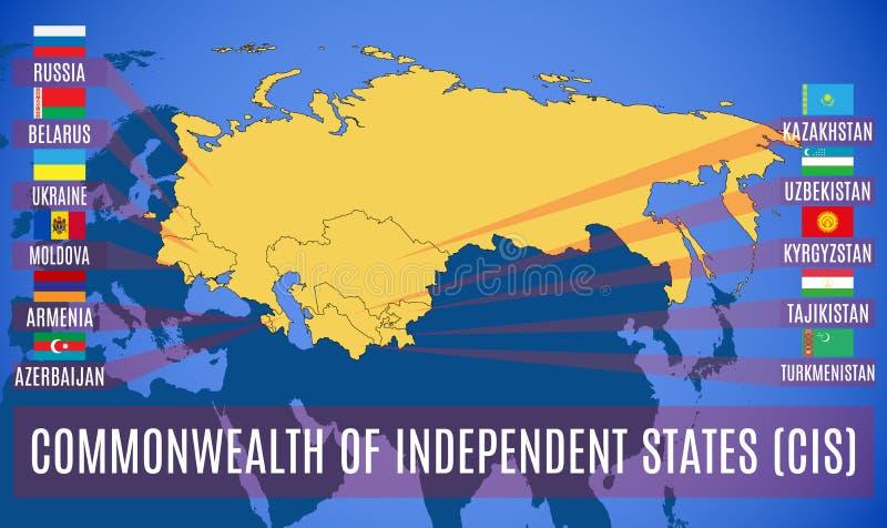 Schematische kaart van de Commonwealth van de Onafhankelijke GOS van Staten vector illustratie