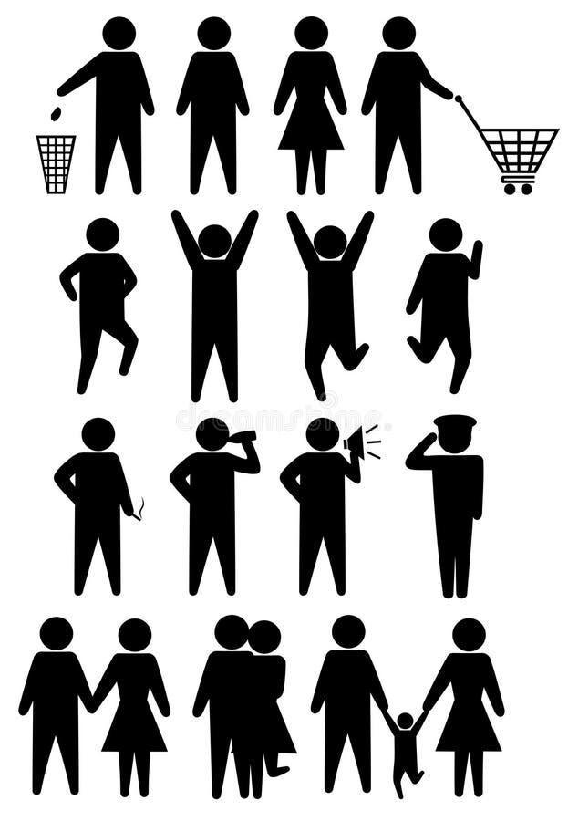 Schematische pictogrammen geplaatst mensen stock illustratie