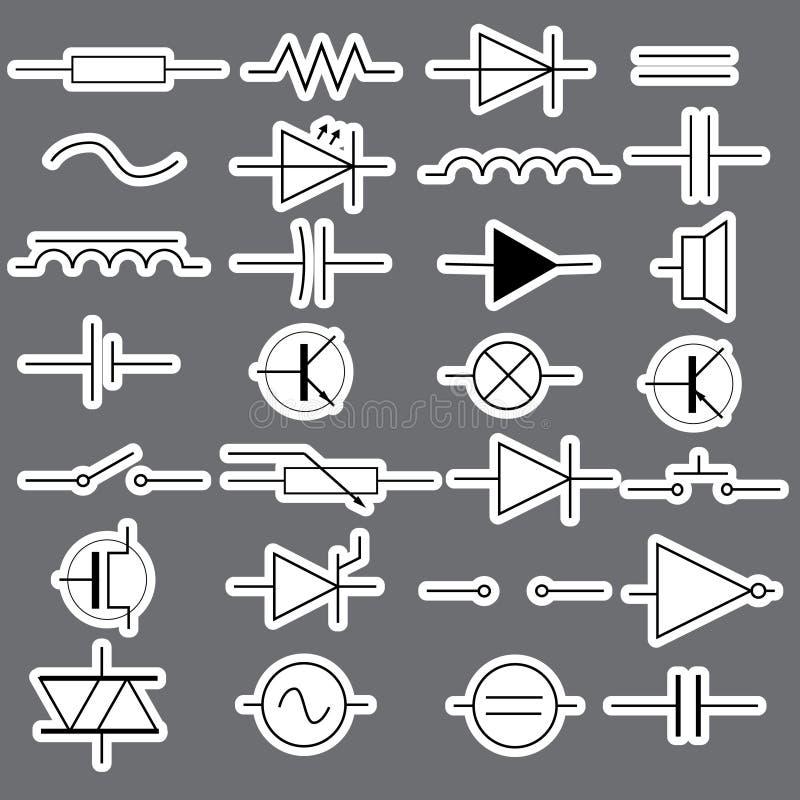 Schematische Symbole In Den Elektrotechnikaufklebern Eps10 Vektor ...
