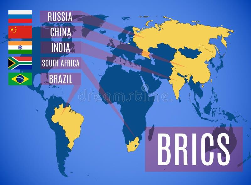 Schematische vectorkaart van de statenleden van BRICS vector illustratie