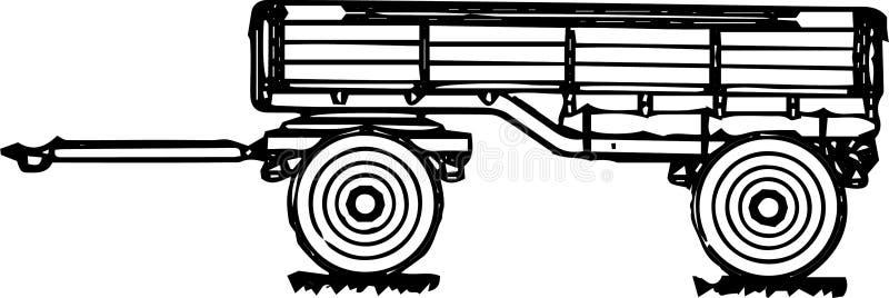 schematisches Diagramm eines Anhängers mit zwei Achsen für einen LKW gezeichnet lizenzfreie stockbilder