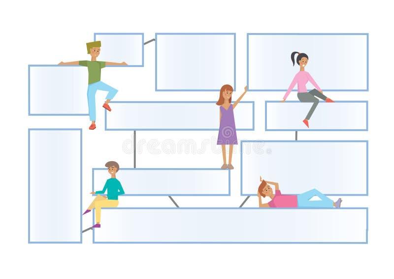 Schematisieren Sie latout mit menschlichen Charakteren auf einem weißen Hintergrund Verbundene Informationkästen für Darstellung  lizenzfreie abbildung