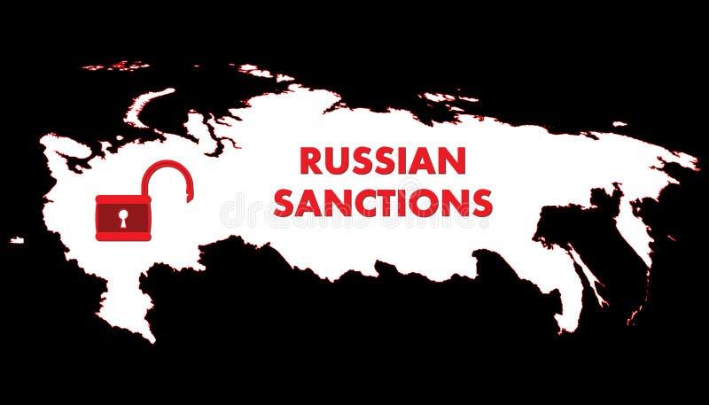 Schematisk översikt för vektor av Ryssland Den öppna hänglåset symboliserar lyfta av sanktioner stock illustrationer