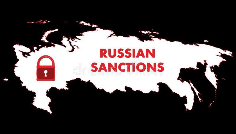 Schematisk översikt för vektor av Ryssland Hänglåset symboliserar sanktionerna vektor illustrationer