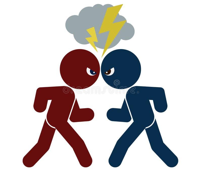 Schematisk bild av konfrontation vektor illustrationer
