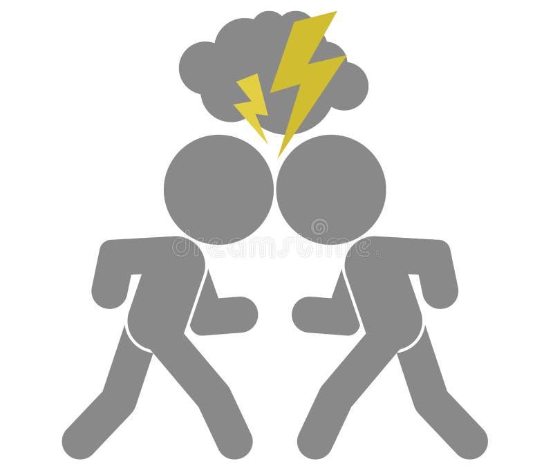 Schematisk bild av konfrontation stock illustrationer