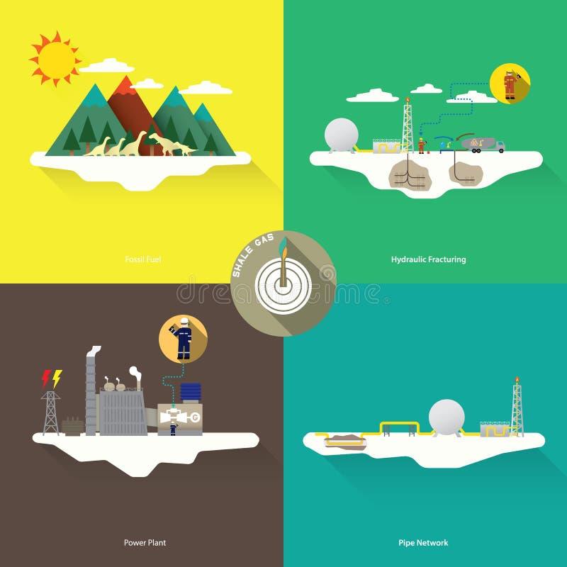 schematisk geologi av naturgasresurser vektor illustrationer