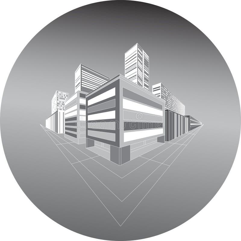 Schematisk stad för natt i perspektiv stock illustrationer
