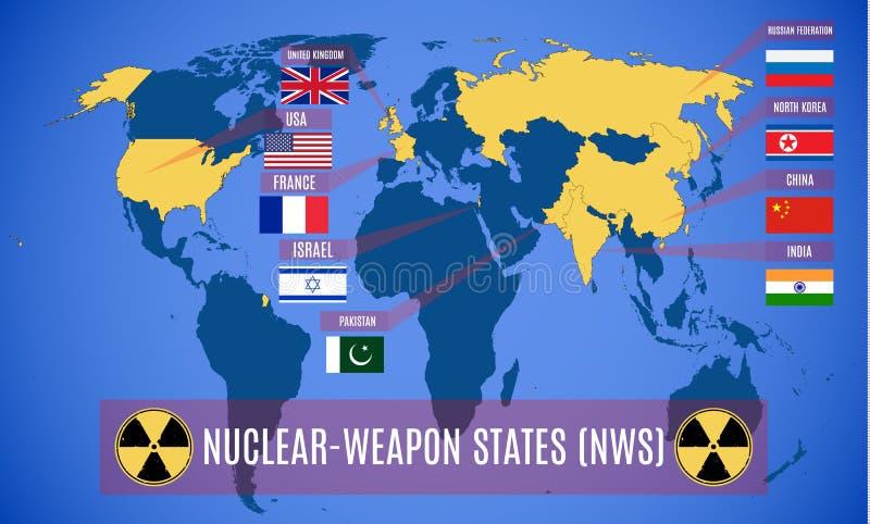 Schematyczna mapa kraj posiadający broń atomową NWS ilustracji