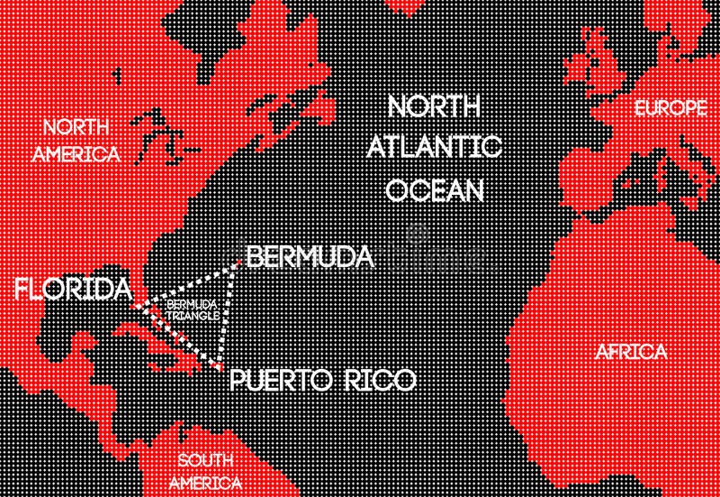 Schematyczna wektorowa mapa Bermuda trójbok ilustracja wektor