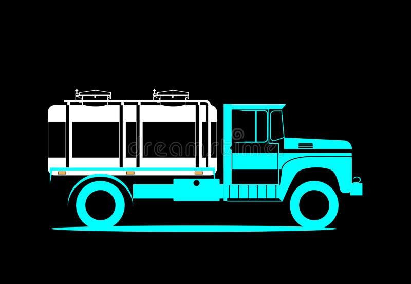 Schematycznego wizerunku cysternowa ciężarówka Retro samochód dla dostawy mleko r?wnie? zwr?ci? corel ilustracji wektora royalty ilustracja