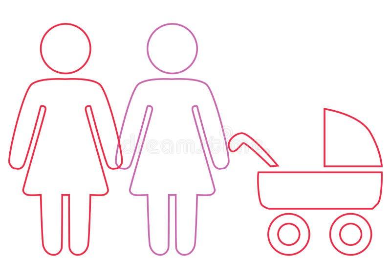 Schematyczny obraz rodzinna para lesbian kobiety z dziećmi ilustracji