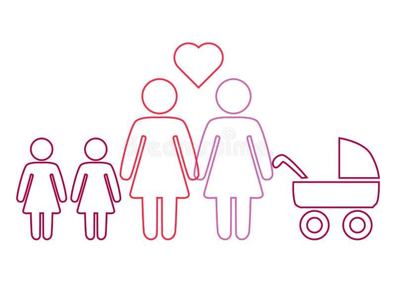 Schematyczny obraz rodzinna para lesbian kobiety z dziećmi royalty ilustracja