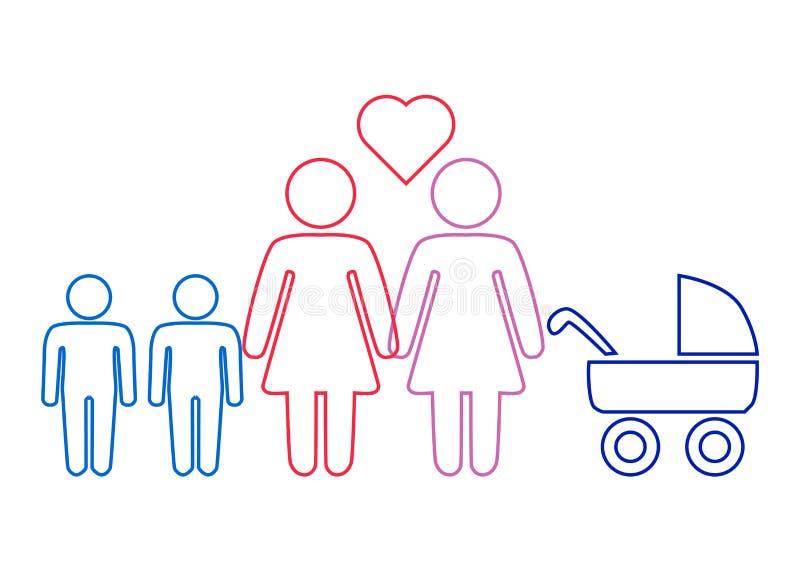 Schematyczny obraz rodzinna para lesbian kobiety z dziećmi ilustracja wektor