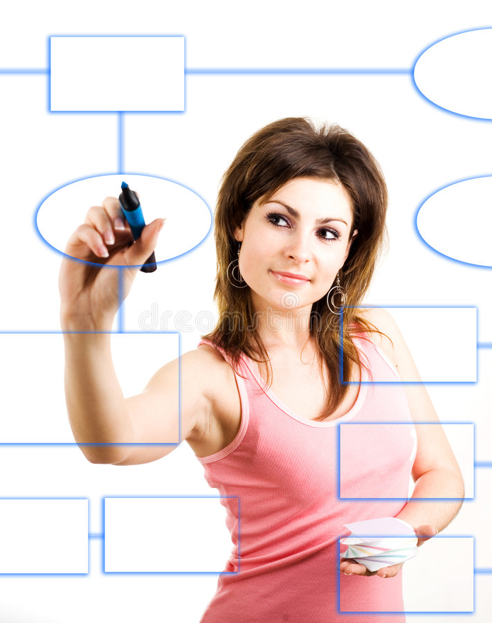 Scheme. An image of a woman drawing a scheme stock photography