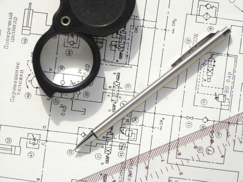 Scheme. Hydraulic circuit Technical drawing royalty free stock photography