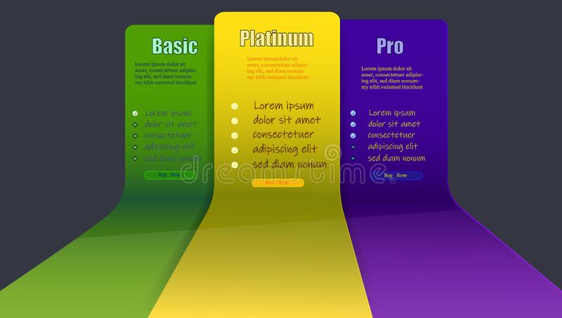 A scheme for buying on a site with three categories. In yellow green and blue shades. Select service quality. Vector illustration stock illustration