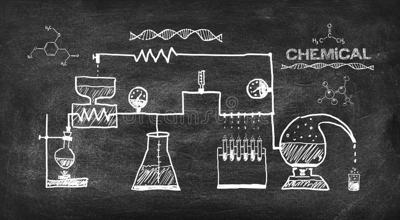 Scheme chemical reaction. Drawing on black chalkboard royalty free stock images