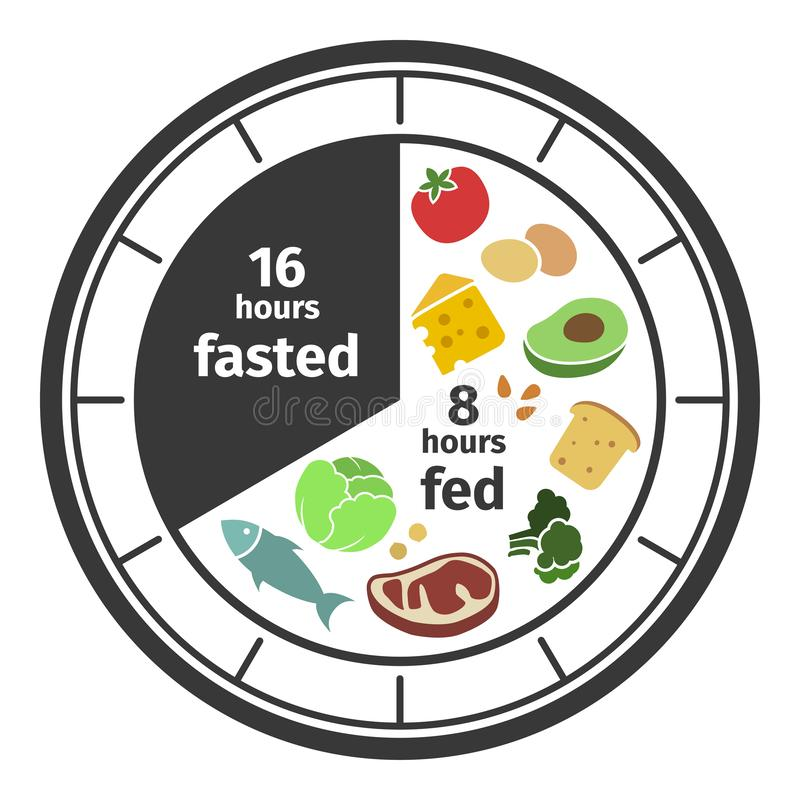 Scheme And Concept Of Intermittent Fasting. Clock Face Symbolizing The  Principle Of Intermittent Fasting. Vector Stock Vector - Illustration of  regular, fitness: 132520809