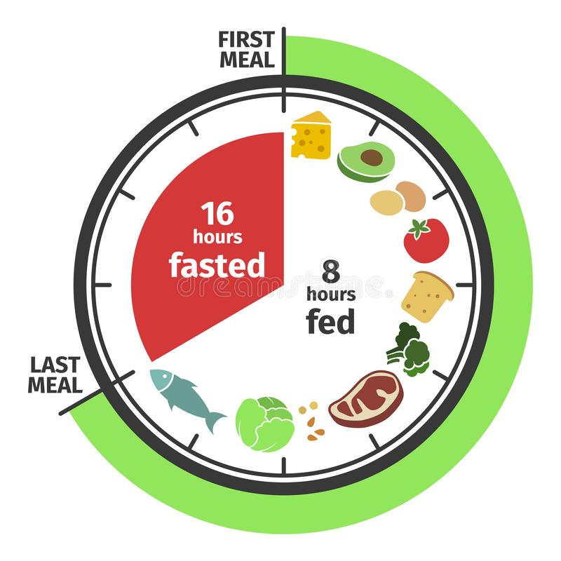 Scheme and concept of Intermittent fasting. Clock face symbolizing the principle of Intermittent fasting. Vector. Scheme and concept. Clock face symbolizing the stock illustration