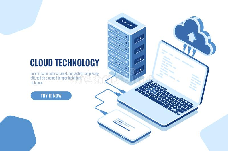 The scheme of data transmission, isometric secure connection, cloud computing, server room, datacenter and database vector illustration