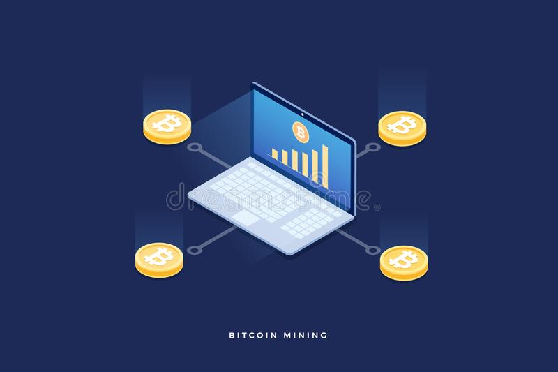 Scheme of emergence of bitcoin. Cryptocurrency mining on laptop pc. 3d isometric flat design. Vector illustration stock illustration