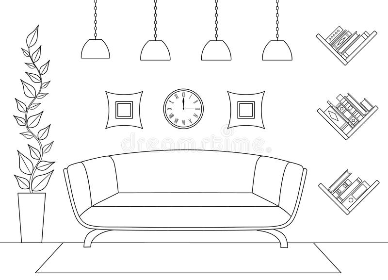 The scheme of the interior. Front view. Vector. royalty free illustration