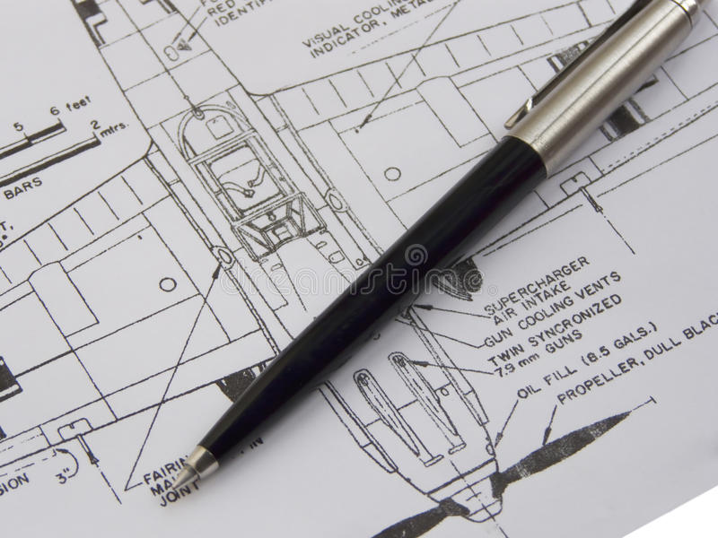 Scheme with pen. Scheme of the plane with pen royalty free stock photos