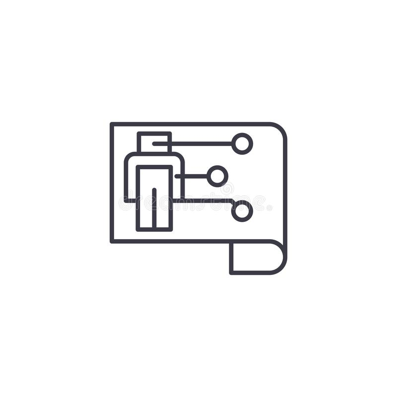 Scheme of the robot linear icon concept. Scheme of the robot line vector sign, symbol, illustration. royalty free illustration