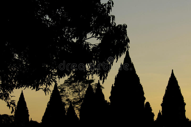 Schemer bij Prambanan-tempel royalty-vrije stock fotografie