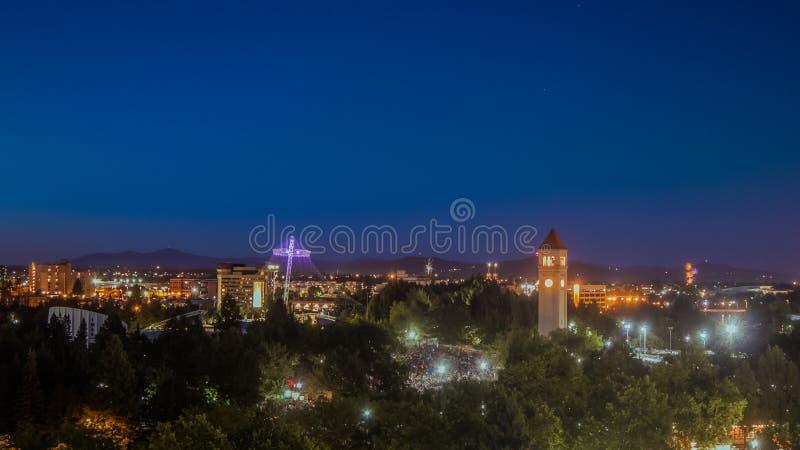 Schemering in Spokane Washington royalty-vrije stock foto's