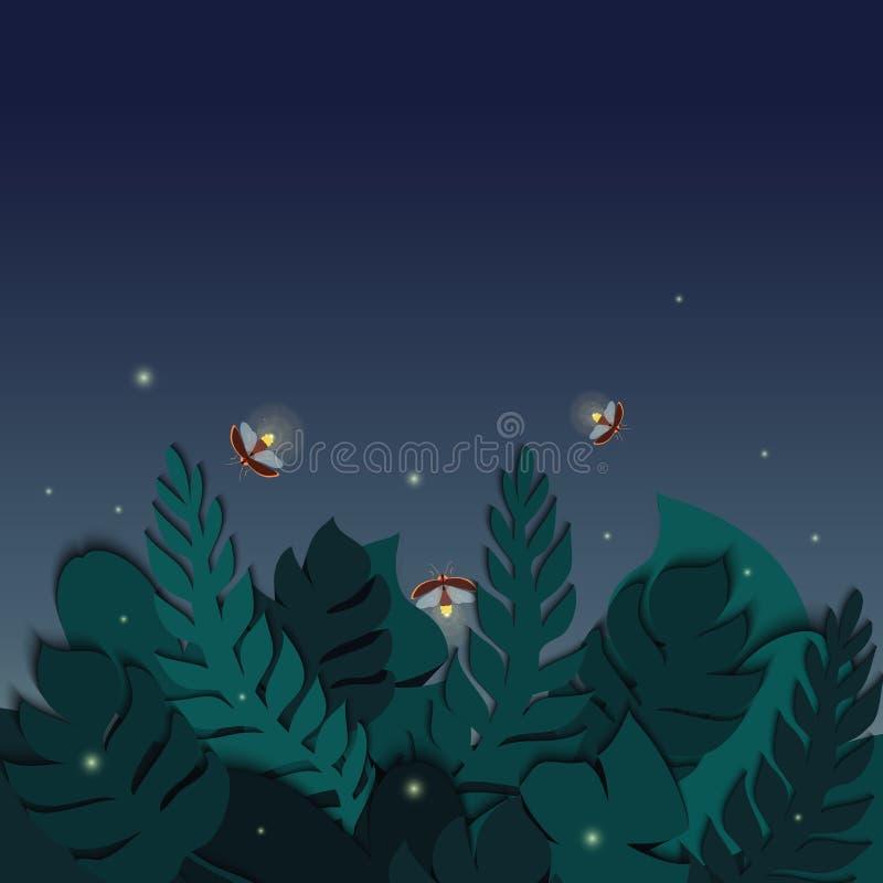 Schemering tropische scène met palmbladen en glimwormen royalty-vrije illustratie