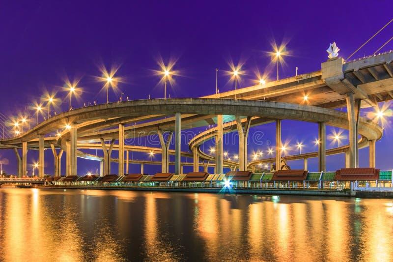 Schemeringcityscape van Bhumibol-Brug over Chao Phraya River, royalty-vrije stock foto's