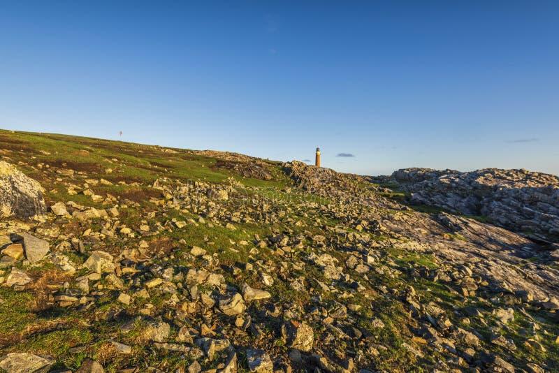 Schemeringlandschappen over het Eiland van Lewis-kusten, Schotland stock foto's
