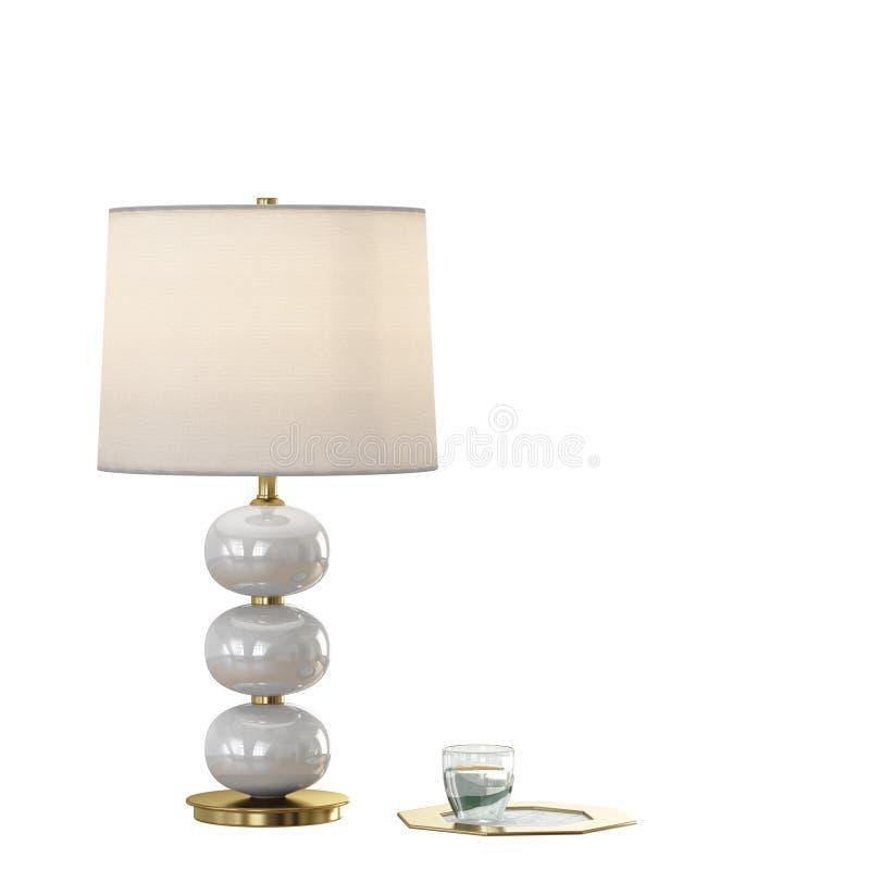 Schemerlamp met lampekap op een witte 3d achtergrond royalty-vrije illustratie