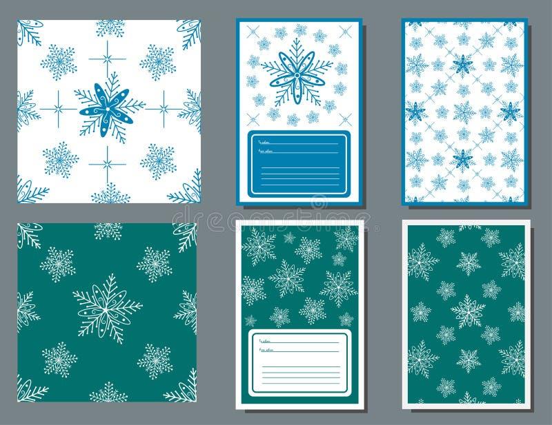 Schemi e carte sgargianti con l'immagine di fiocchi bianchi di neve su uno sfondo turchese e blu su uno sfondo bianco immagini stock libere da diritti