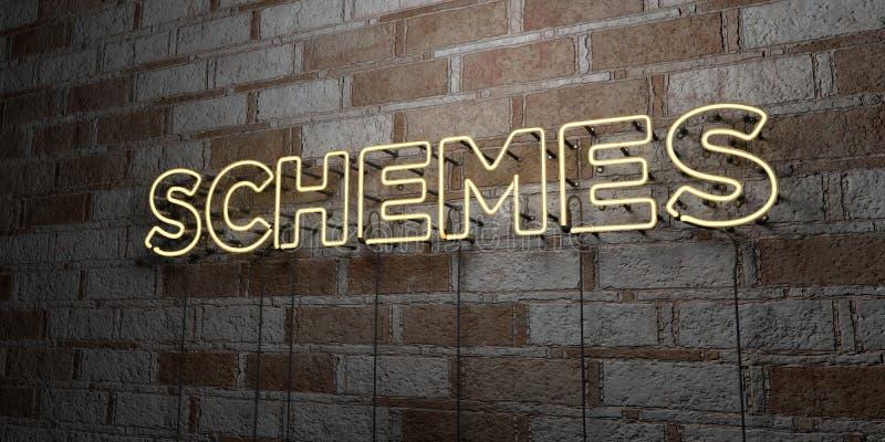 SCHEMI - Insegna al neon d'ardore sulla parete del lavoro in pietra - 3D ha reso l'illustrazione di riserva libera della sovranit illustrazione vettoriale