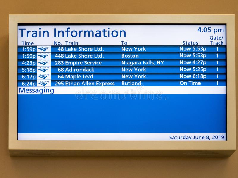 Train schedule information sign stock images