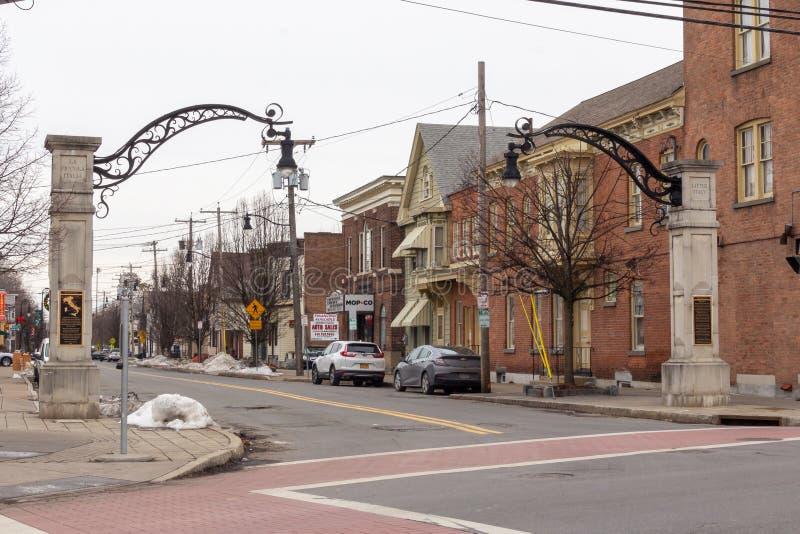 Schenectady, NY / Estados Unidos - Dez 29, 2019: Uma imagem da Pequena Itália fotos de stock royalty free