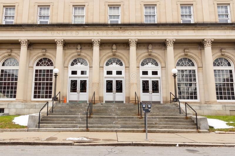 Schenectady, NY / United States - Dec. 29, 2019: An image of the United States Post Office at 29 Jay Street in Schenectady. A landscape view image of the iconic stock photography