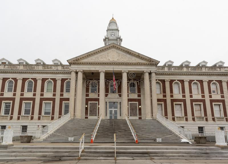 Schenectady, NY / United States - Dec. 29, 2019: Landscape front facing image of the historic Schenectady City Hall. Horizontal front facing image of the iconic royalty free stock photos