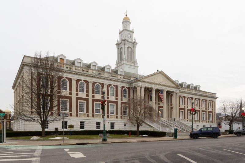 Schenectady, NY / United States - Dec. 29, 2019: A landscape three-quarter Image of the historic Schenectady City Hall. Horizontal three quarter image of the stock photo