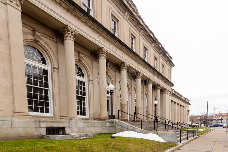 Schenectady, NY / United States - Dec. 29, 2019: A three quarter view image of the United States Post Office at 29 Jay Street in. A landscape view image of the stock photos