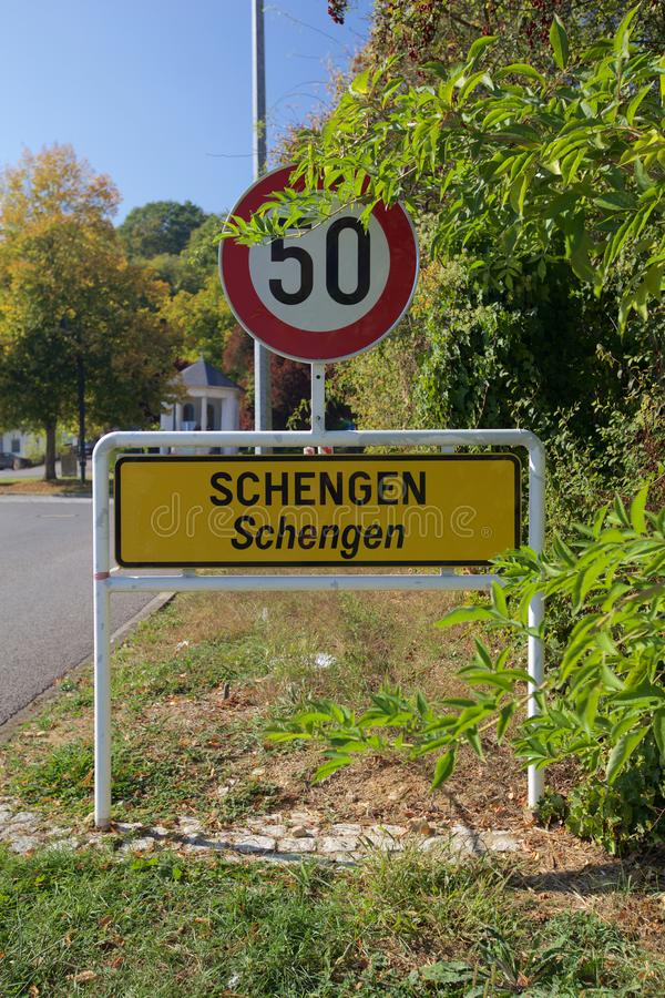 Schengen City Limit Sign on the Luxembourgish Tri-Border. City limit sign in Schengen, a small Luxembourgish village on the triple-border area between Luxembourg stock image