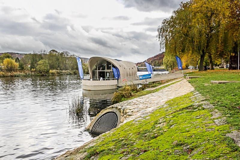 SCHENGEN, LUXEMBOURG - NOVMEBER 6, 2015: Monument Schengen Agreement. Monument Schengen Agreement symbolises the free movement of people and goods in 25 European stock photo