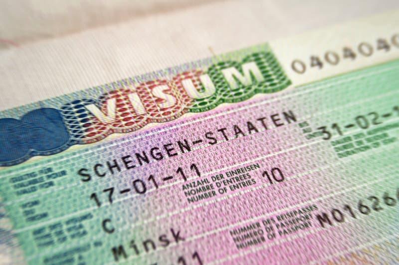 schengen visa royaltyfri fotografi