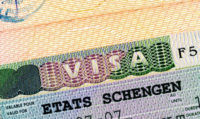 Schengen visa in passport royalty free stock images