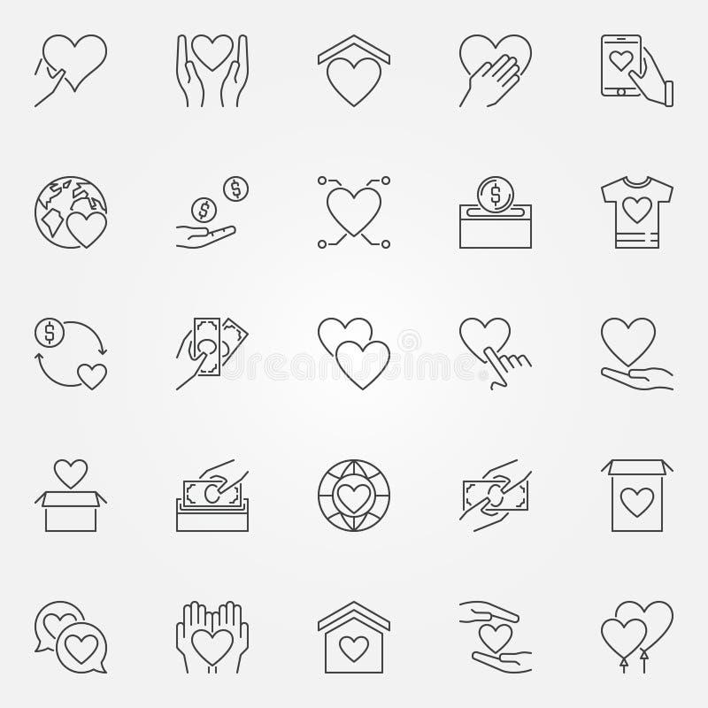 Schenking en liefdadigheids geplaatste pictogrammen - de vector schenkt overzichtssymbolen stock illustratie