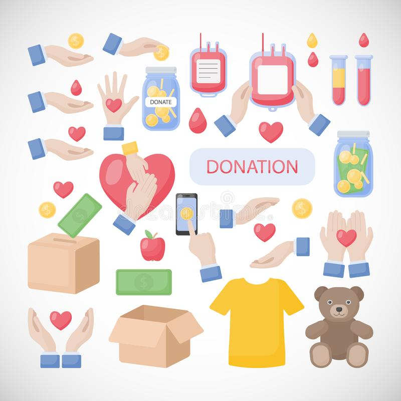 Schenking en liefdadigheids vlakke vectorpictogramreeks vector illustratie
