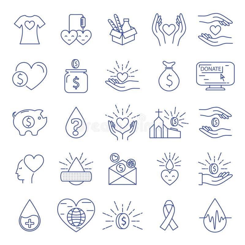 Schenking en Liefdadigheidspictogrammen royalty-vrije illustratie